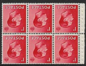 PB2a 1d Scarlet Booklet Pane of 6 Watermark Inverted  Unmounted Mint (Edward VIII Stamps)